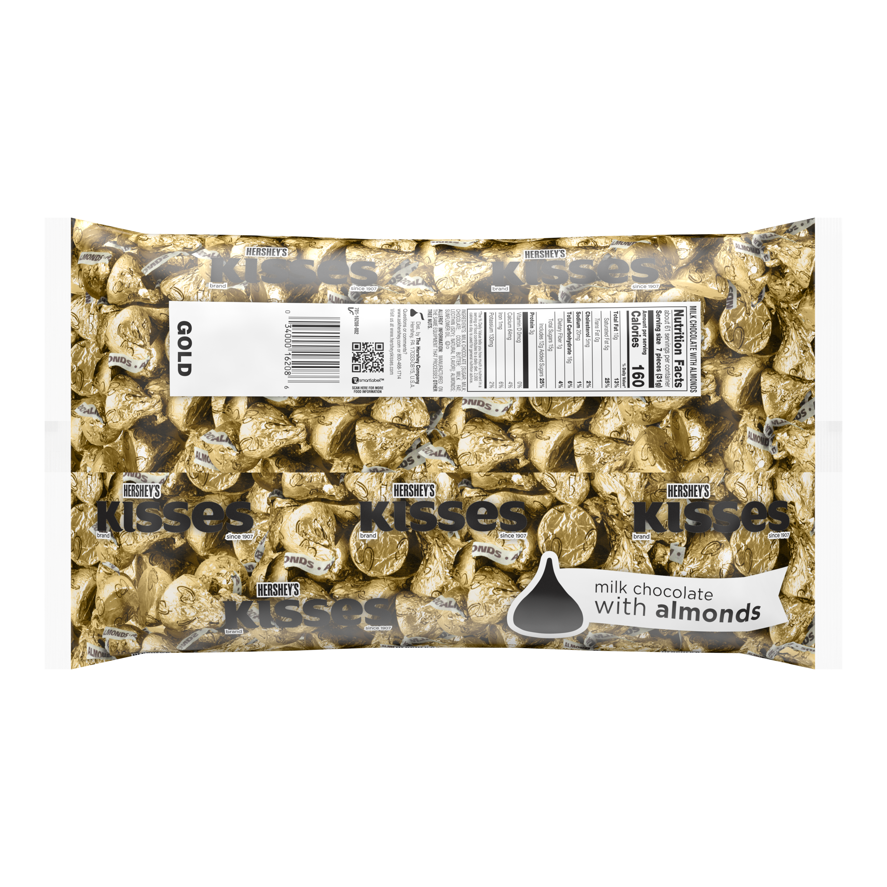 HERSHEY'S KISSES Gold Foil Milk Chocolate with Almonds Candy, 66.7 oz bag - Back of Package