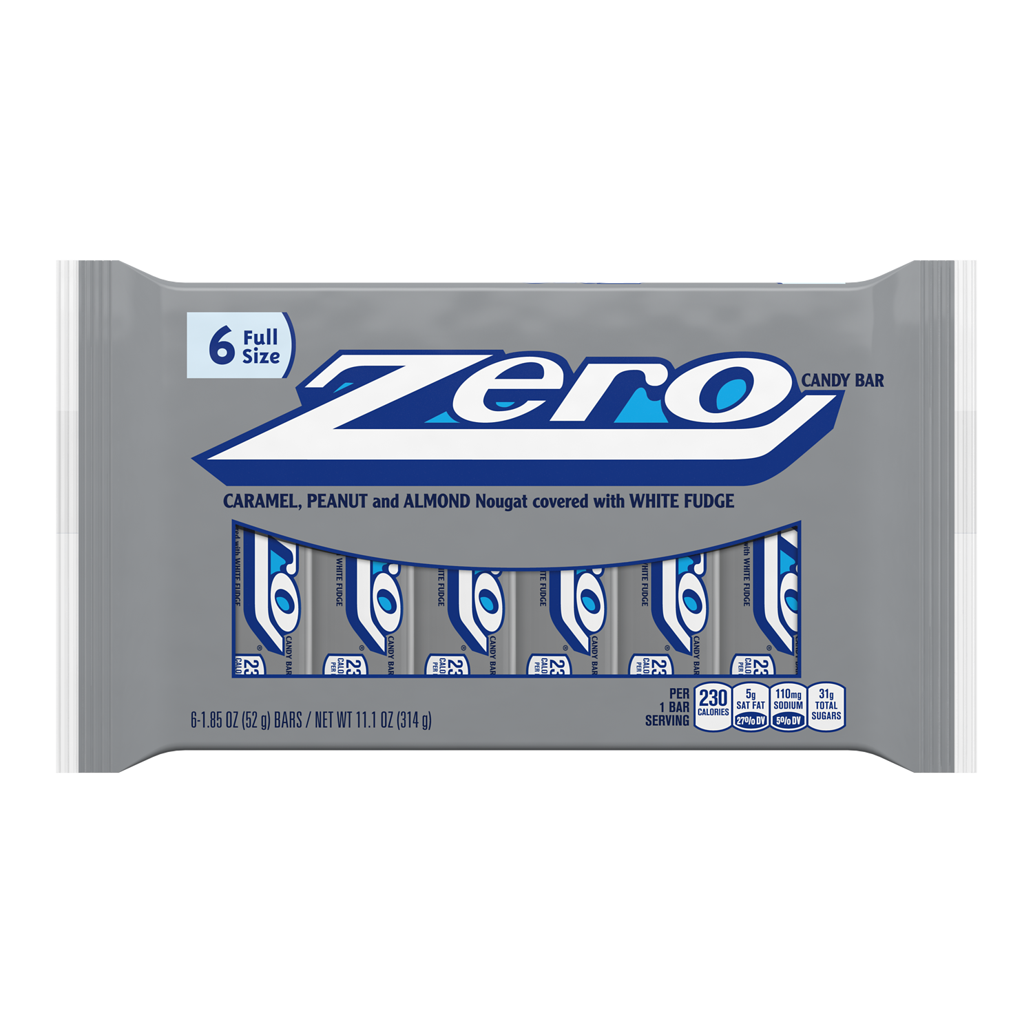 ZERO Candy Bars, 1.85 oz bag, 6 pack - Front of Package