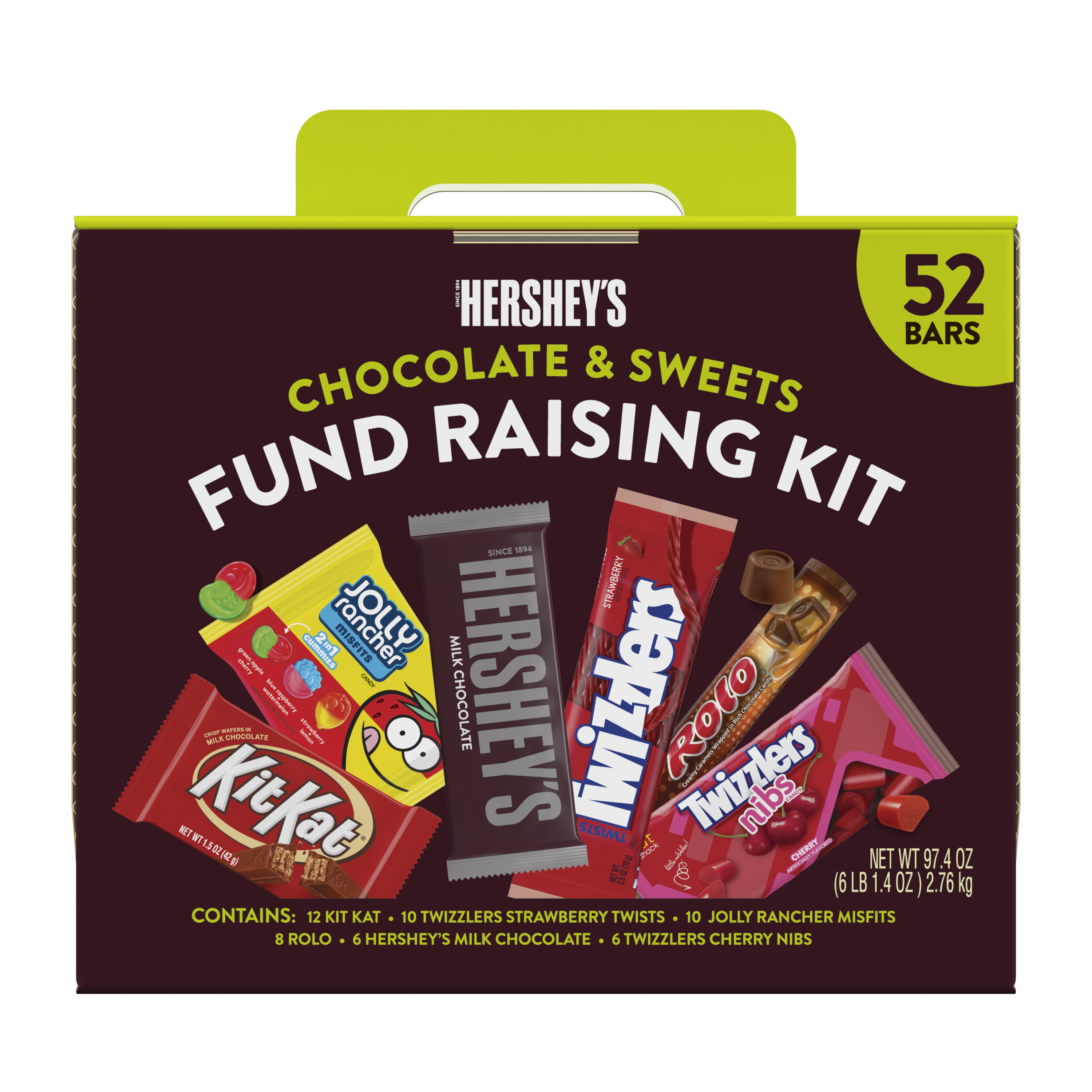 Hershey Chocolate & Sweets Fund Raising Kit, 97.4 oz box, 52 bars - Front of Package