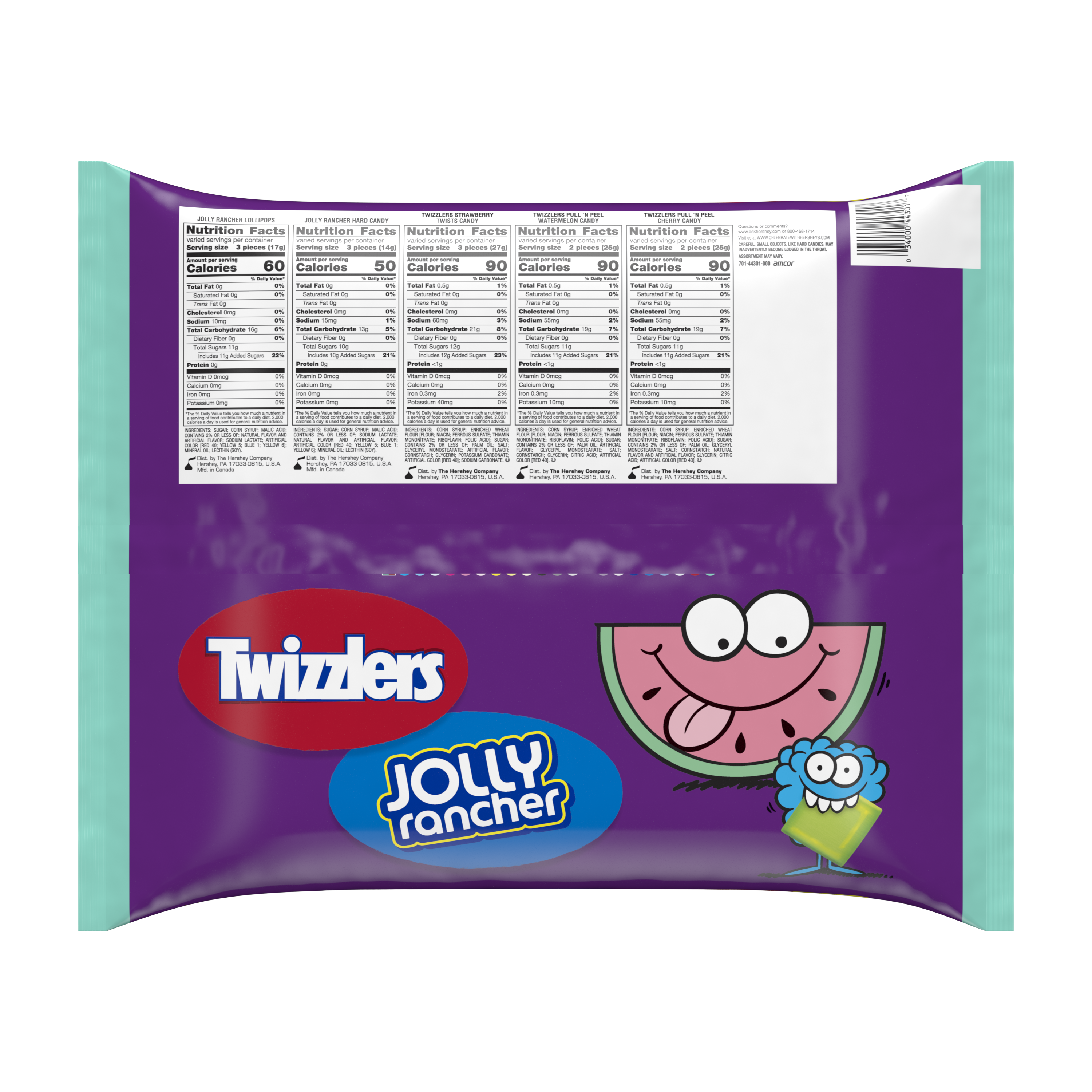 TWIZZLERS & JOLLY RANCHER Sweets Mix Assortment, 71.05 oz bag, 270 pieces - Back of Package