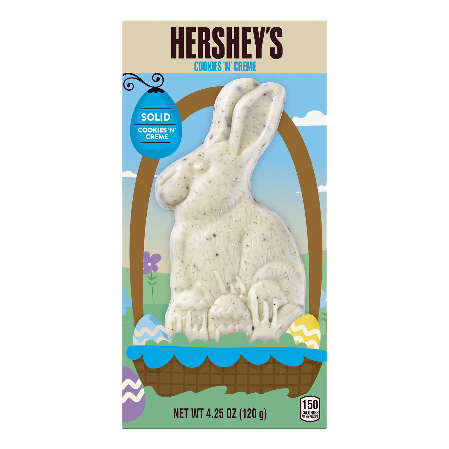 HERSHEY'S Solid COOKIES 'N' CREME Bunny, 4.25 oz box - Front of Package