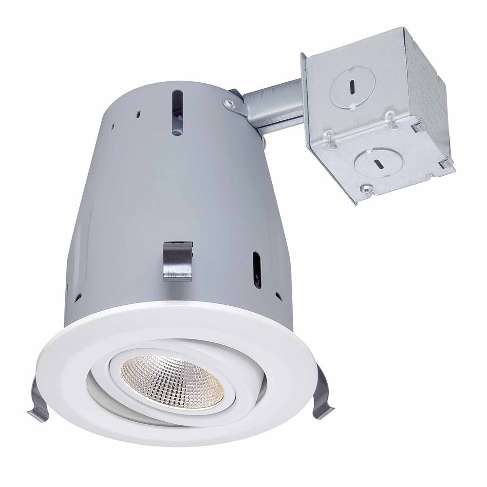Commercial Electric 4 Inch Led Ic Recessed Gimbal Lighting Kit In
