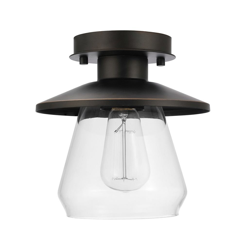 Globe electric nate 1 light oil rubbed bronze semi flush mount ceiling light fixture
