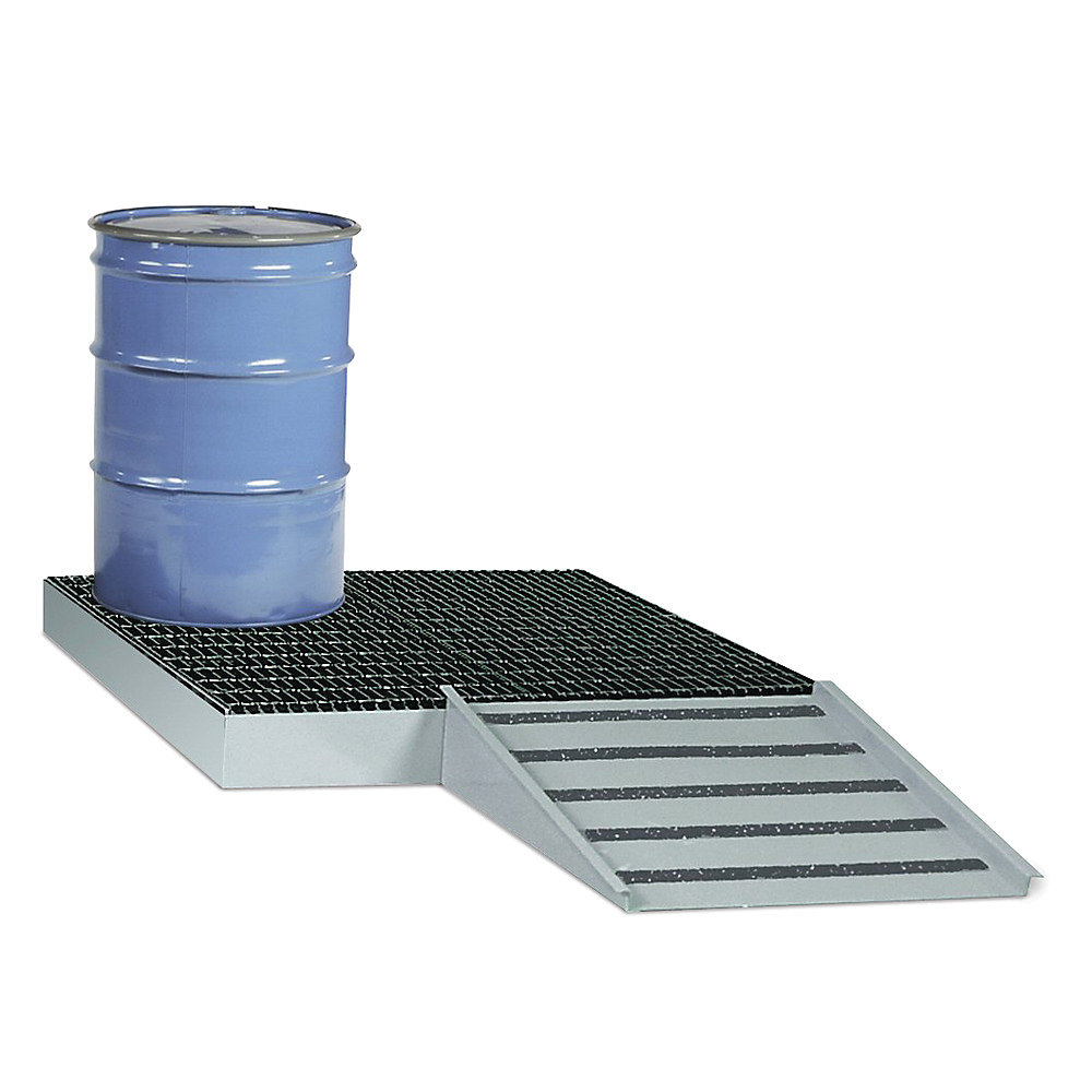 Relius Solutions Steel Containment Pallets - 2-Drum Capacity - 33-Gal. Sump Capacity - Gray  (SSB-5125-ADD RELIUS LABEL)