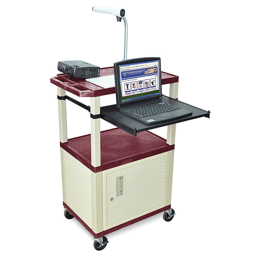 Luxor Mobile Computer Workstations With Cabinet And Pull-Out Tray - 24X18x42-1/2