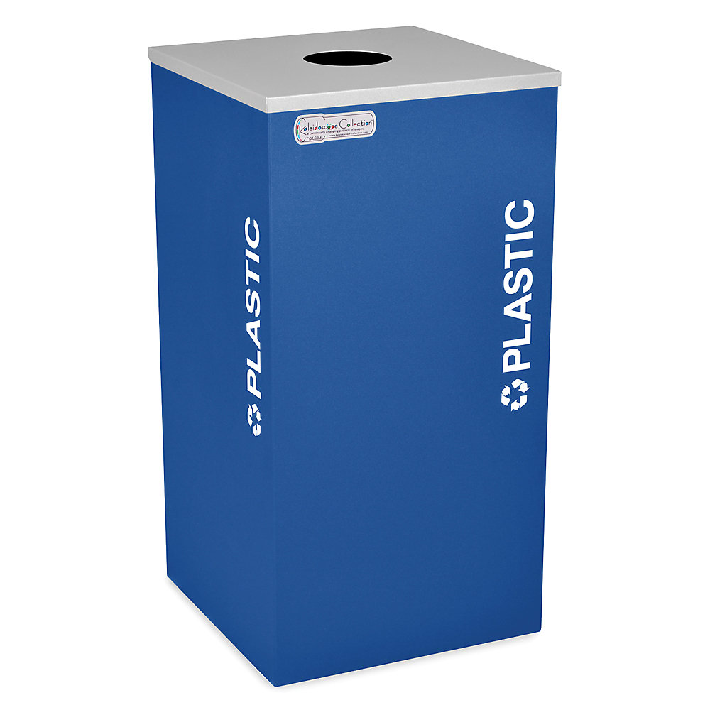 global mobile trash can with attached lid blue blue