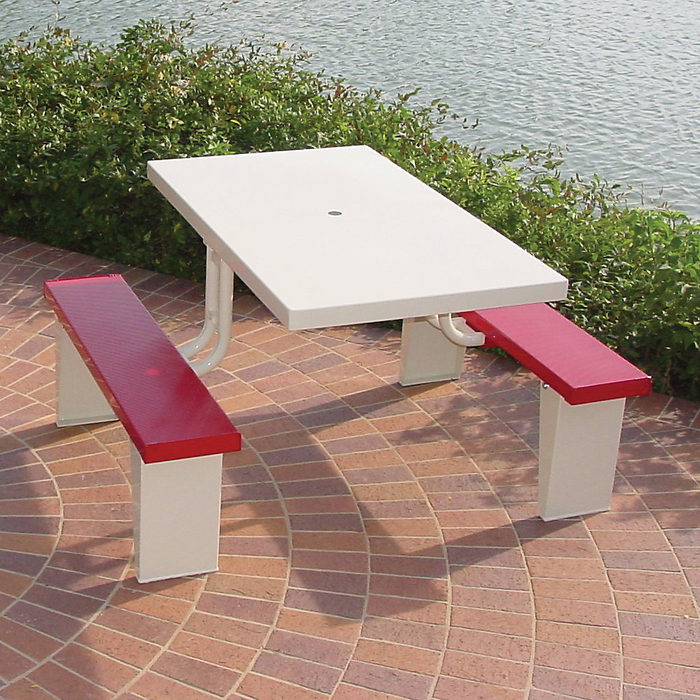 PRAIRIE VIEW Rectangle Picnic Table - 4'L - Red - Red