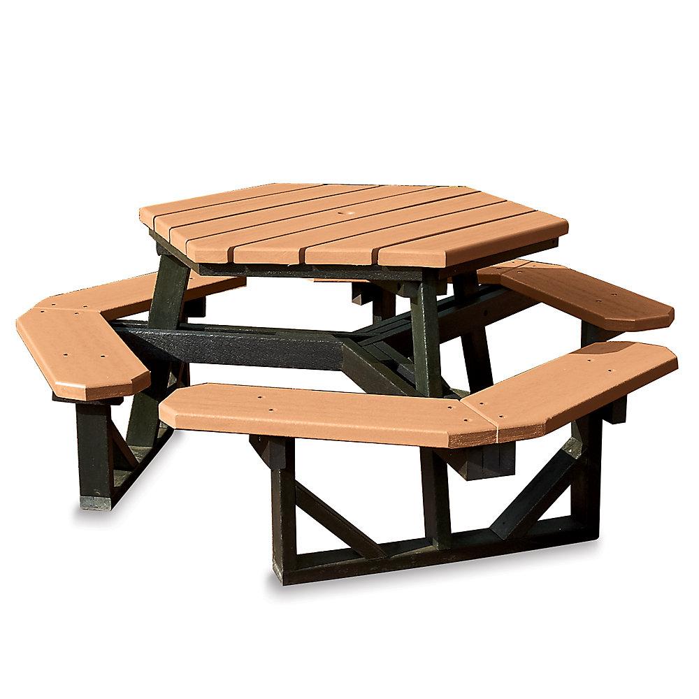 JAYHAWK PLASTICS Hex Picnic Table - 6'L - Standard - Green Frame - Cedar