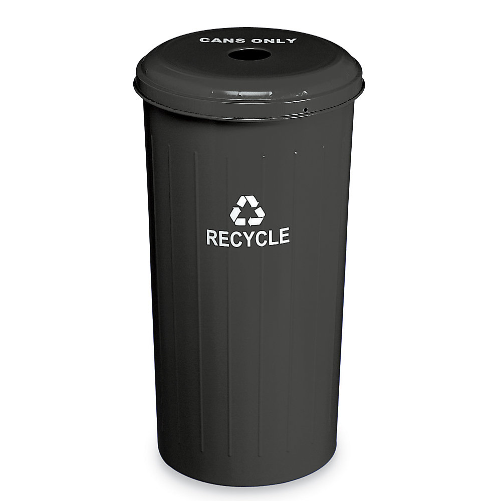 Relius Solutions Steel Recycling Container - 20-Gallon Capacity - With Cans Only Lid - Black - Black  (10/1DTDB-RELIUS-BLACK)