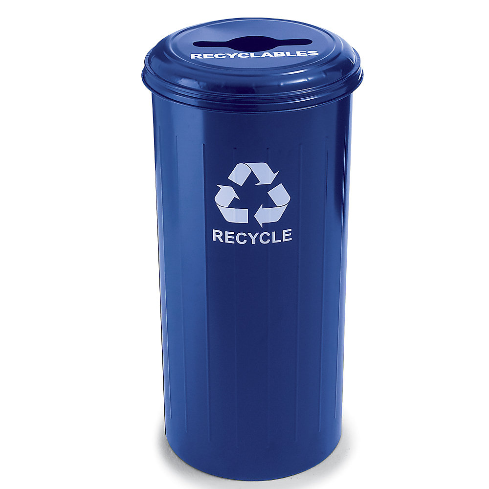 Relius Solutions Steel Recycling Container - 20-Gallon Capacity - With Recyclables Lid - Blue - Blue  (10/1CTDB-RELIUS-BLUE)