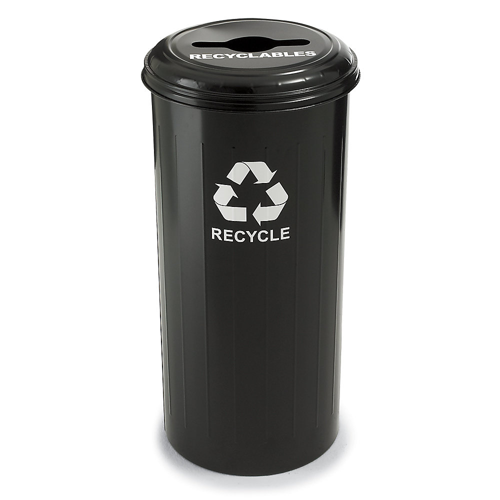 Relius Solutions Steel Recycling Container - 20-Gallon Capacity - With Recyclables Lid - Black - Black  (10/1CTBK-RELIUS-BLACK)