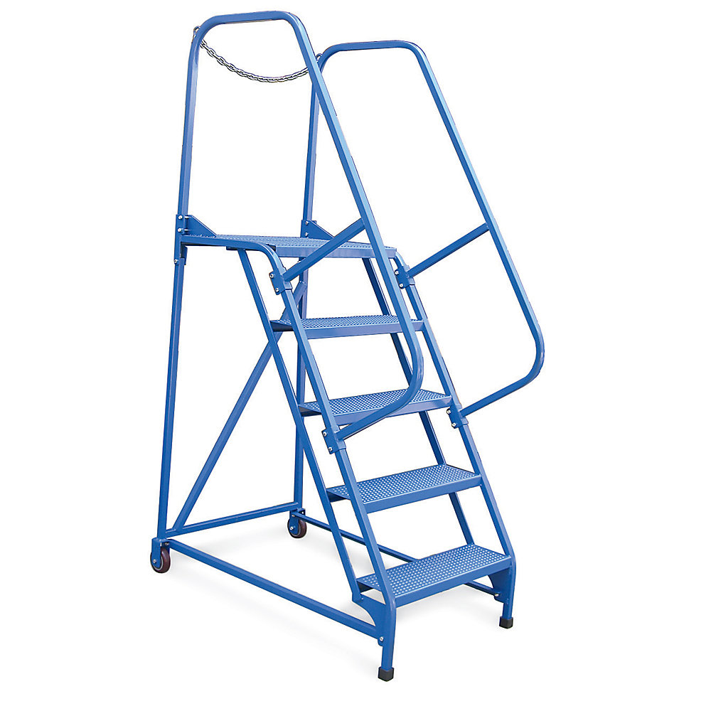 Relius Solutions Mobile Maintenance Ladders - 5 Steps - Perforated - Blue (LAD-MM-5-P)