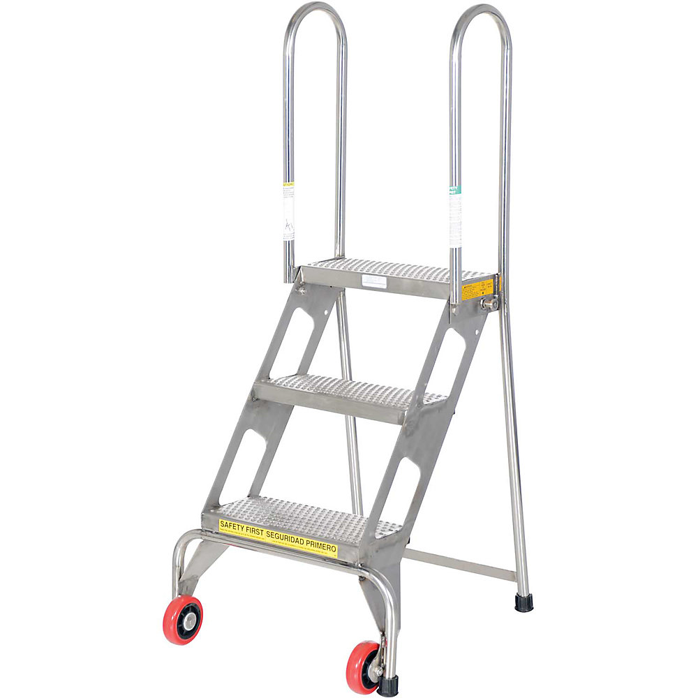 All-Welded Vestil Lock And Roll Folding Ladders With Wheels - 3 Steps - Stainless Steel