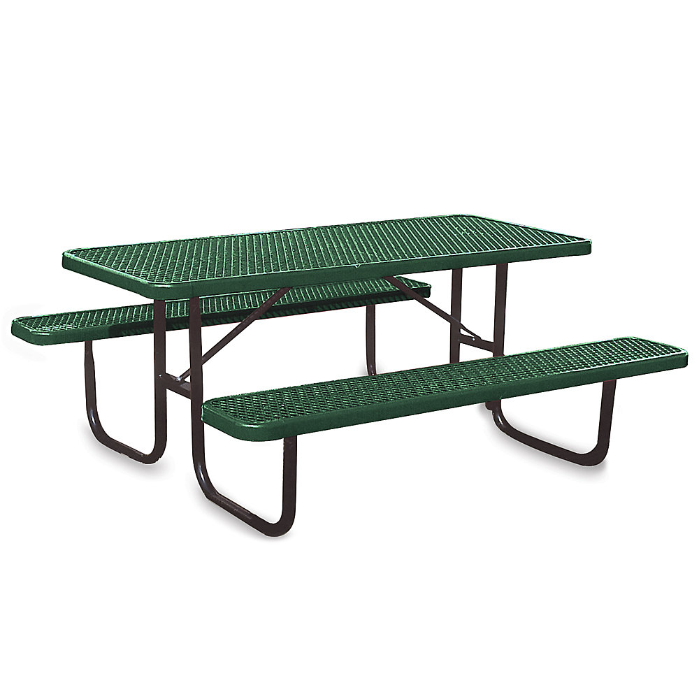 ULTRAPLAY Thermoplastic Coated Steel Picnic Table - 6'L - Standard - Green