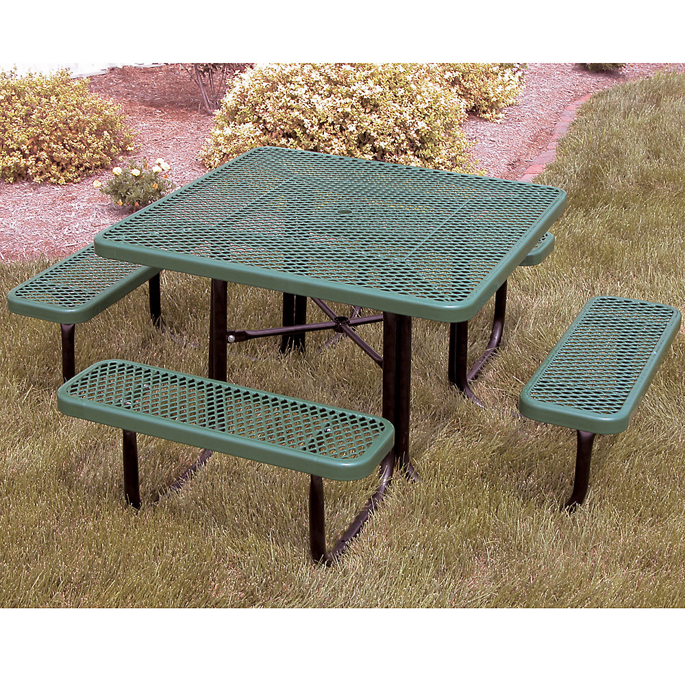 ULTRAPLAY Thermoplastic Coated Steel Picnic Table - 46'L - Square - Red
