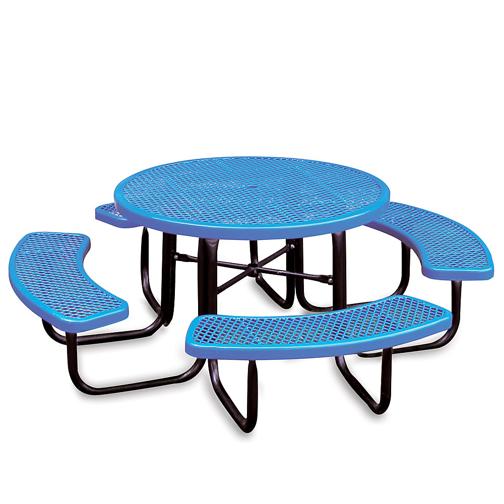 IndustrialSupplies Thermoplastic Coated Steel Picnic Table - 46'Dia - Round - Blue - Blue