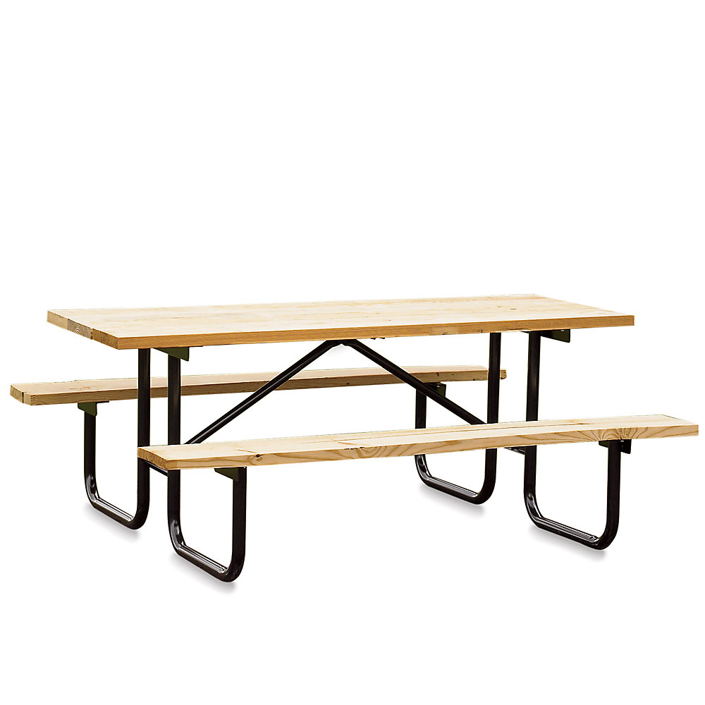 IndustrialSupplies Wooden Picnic Table - 6'L - Galvanized Frame