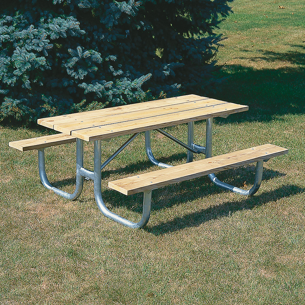 IndustrialSupplies Extra Heavy-Duty Wooden Picnic Table - 6'L - Galvanized Frame