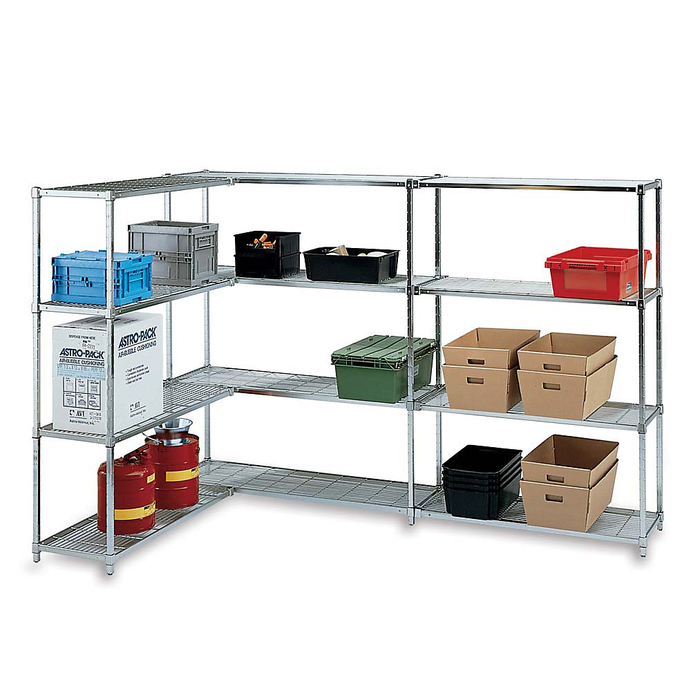 RELIUS SOLUTIONS Square-Post Open Wire Shelving - 60x18x64' - Add-On Unit