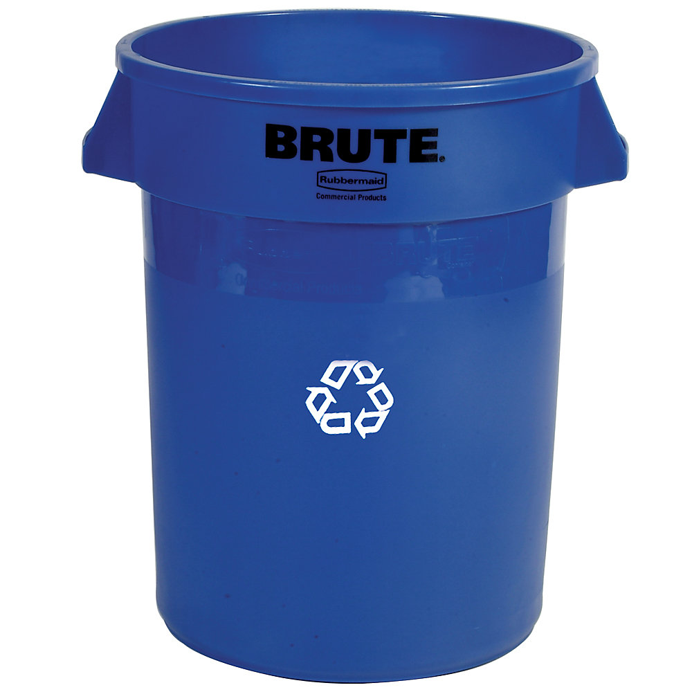 RUBBERMAID® RUBBERMAID BRUTE Bulk Recycling Collector - Round Container - 32-Gallon Capacity - Blue