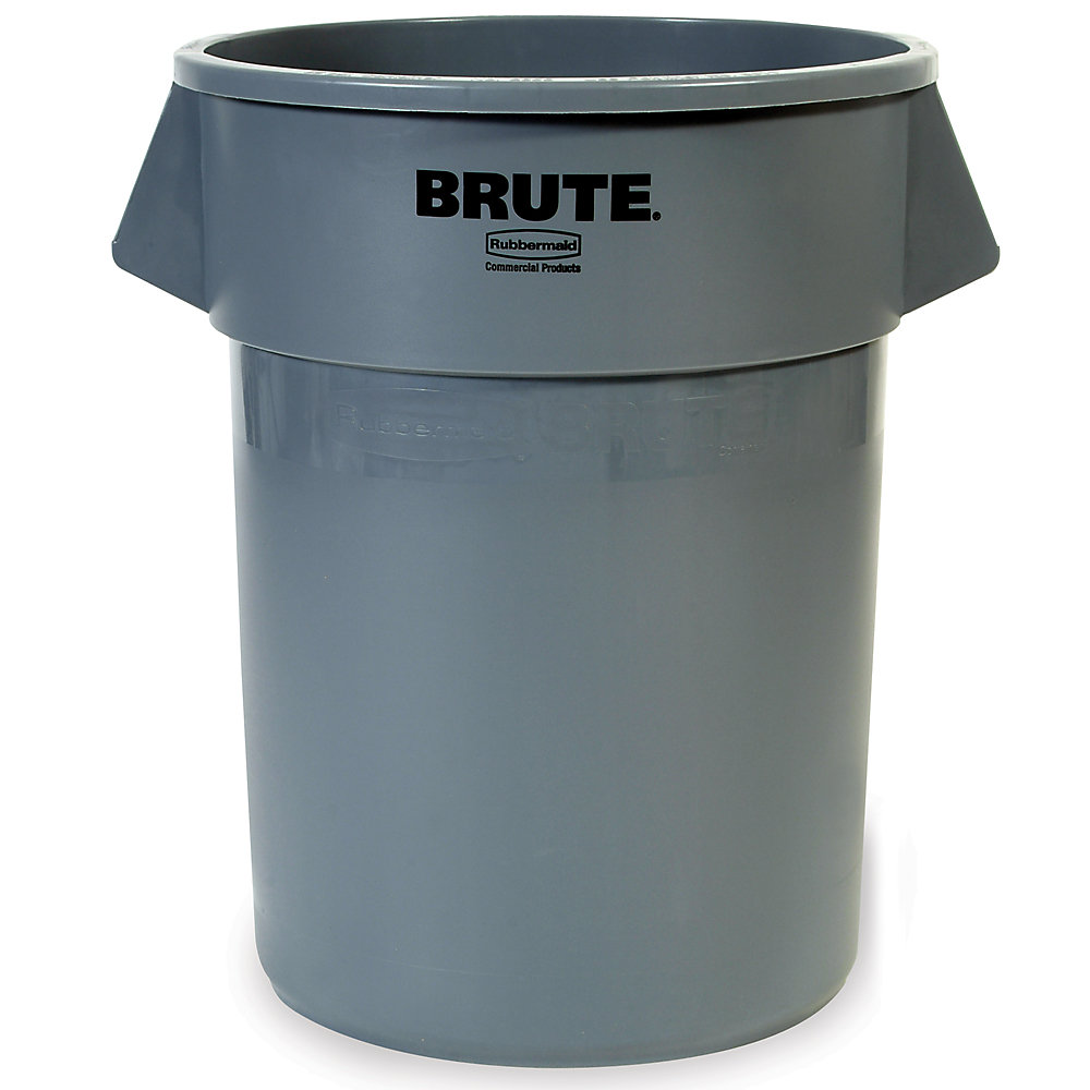 RUBBERMAID® RUBBERMAID BRUTE Round Container - 10-Gallon Capacity - Gray - Gray