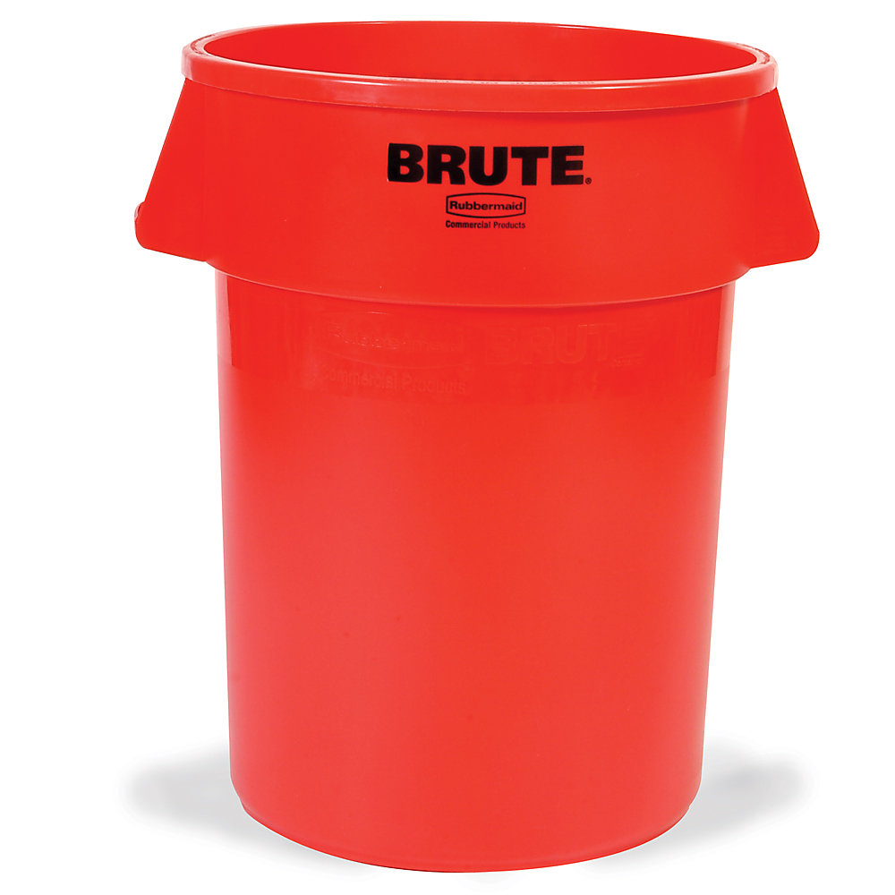 RUBBERMAID® RUBBERMAID BRUTE Round Container - 44-Gallon Capacity - Red - Red