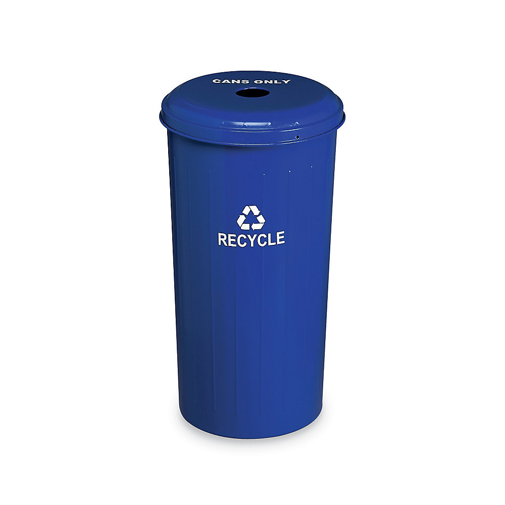 Relius Solutions Steel Recycling Container - 20-Gallon Capacity - With Cans Only Lid - Blue - Blue  (10/1DTDB-R)