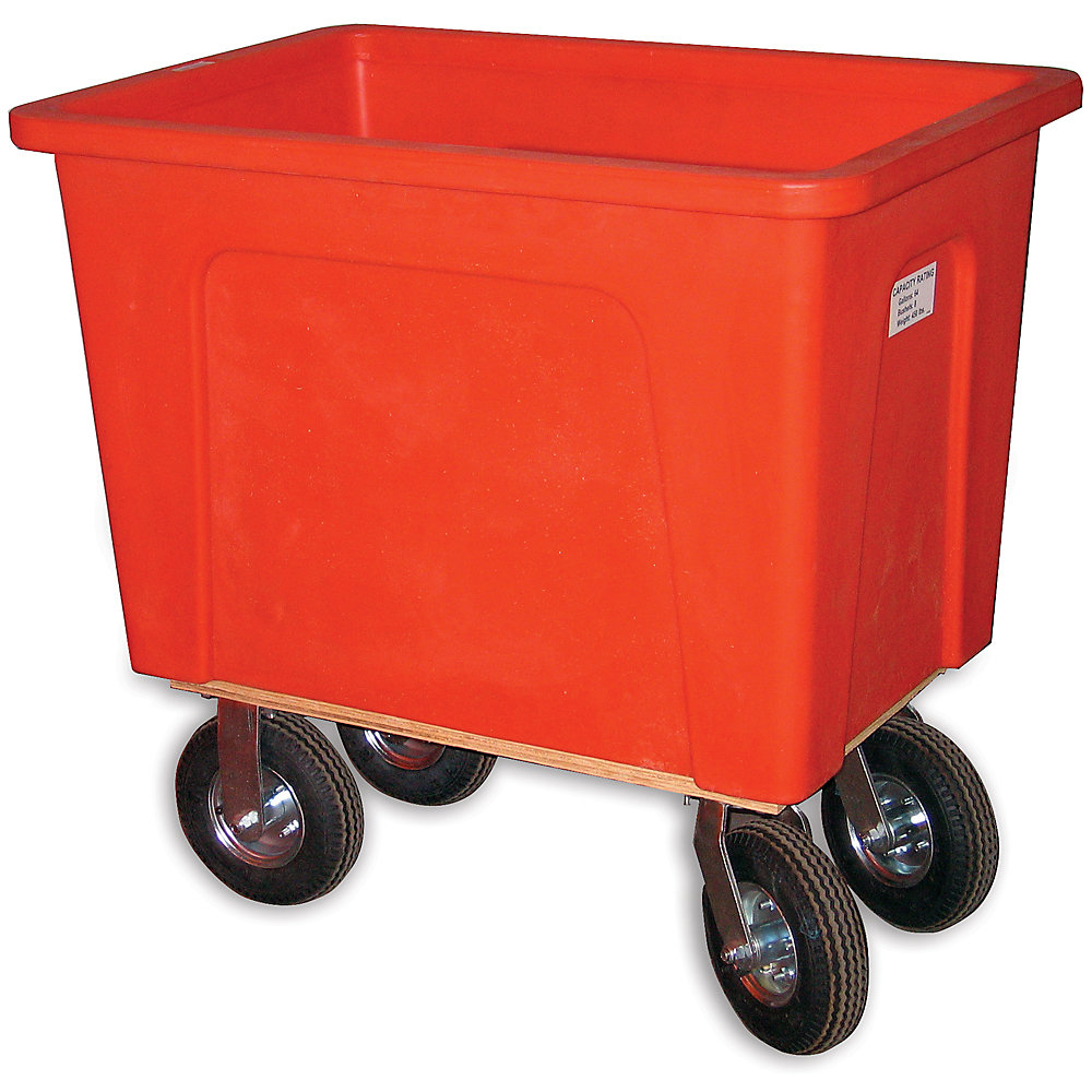 "Wesco Box Trucks - 8"" Pneumatic Casters - 21""Wx32""Dx25""H - Red - Red"
