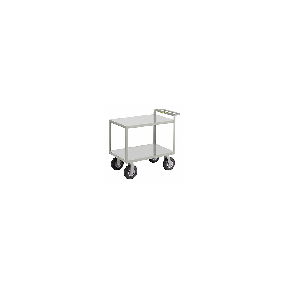 "Little Giant Cushion Load Trucks With Crossbrace Handle - 9"" Pneumatic Wheels - 48""Wx24""D Shelf - Both Shelves Flush (G-2448-9P)"