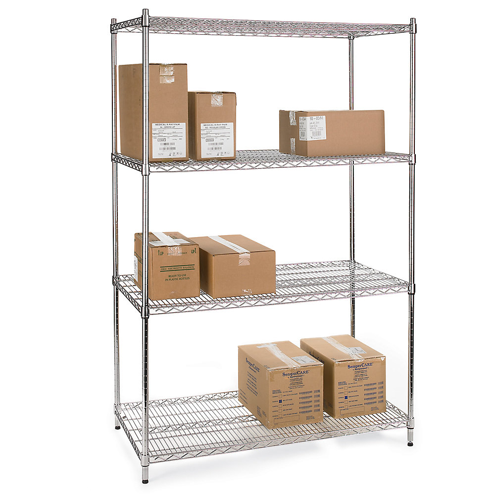 RELIUS SOLUTIONS Wire Shelving with Chrome Finish - 36x18x72'
