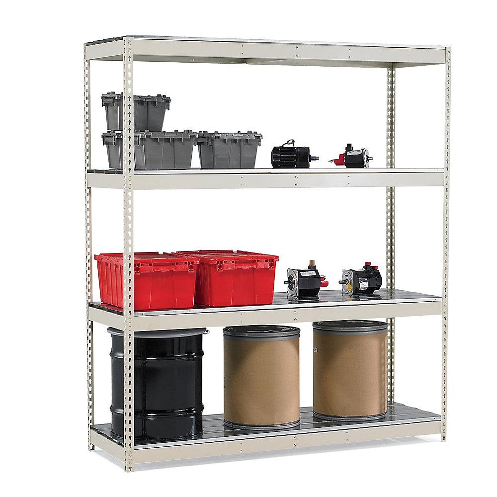 HALLOWELL Rivetwell Complete Standard Shelving - 48x18x84' - Steel Decking - Add-On Unit