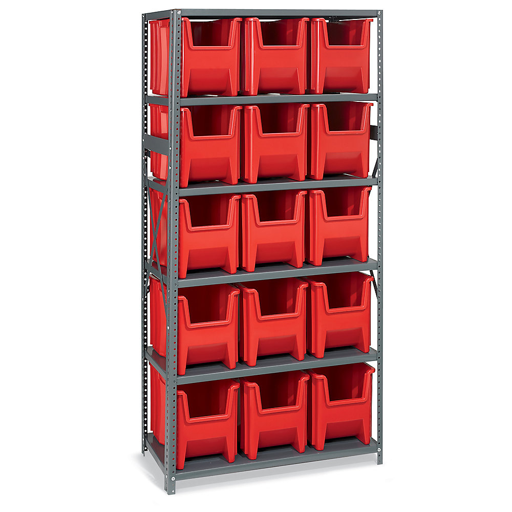 AKRO-MILS® AKRO-MILS 36' Wide Shelving with Extra-Large Bins - 36x18x75' - (15) 10-7/8 x17-1/2 x12-1/2' Bins - Red