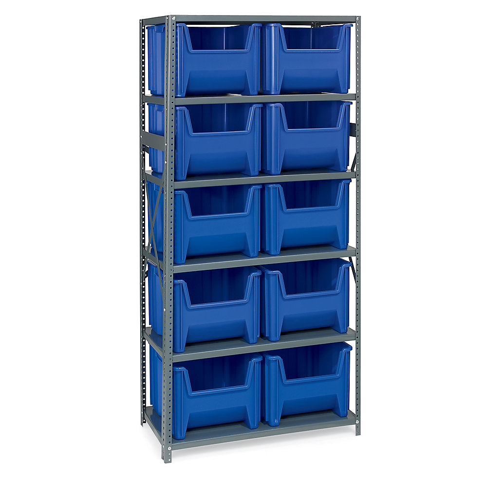 AKRO-MILS® AKRO-MILS 36' Wide Shelving with Extra-Large Bins - 36x18x75' - (10) 16-1/2 x17-1/2 x12-1/2' - Blue