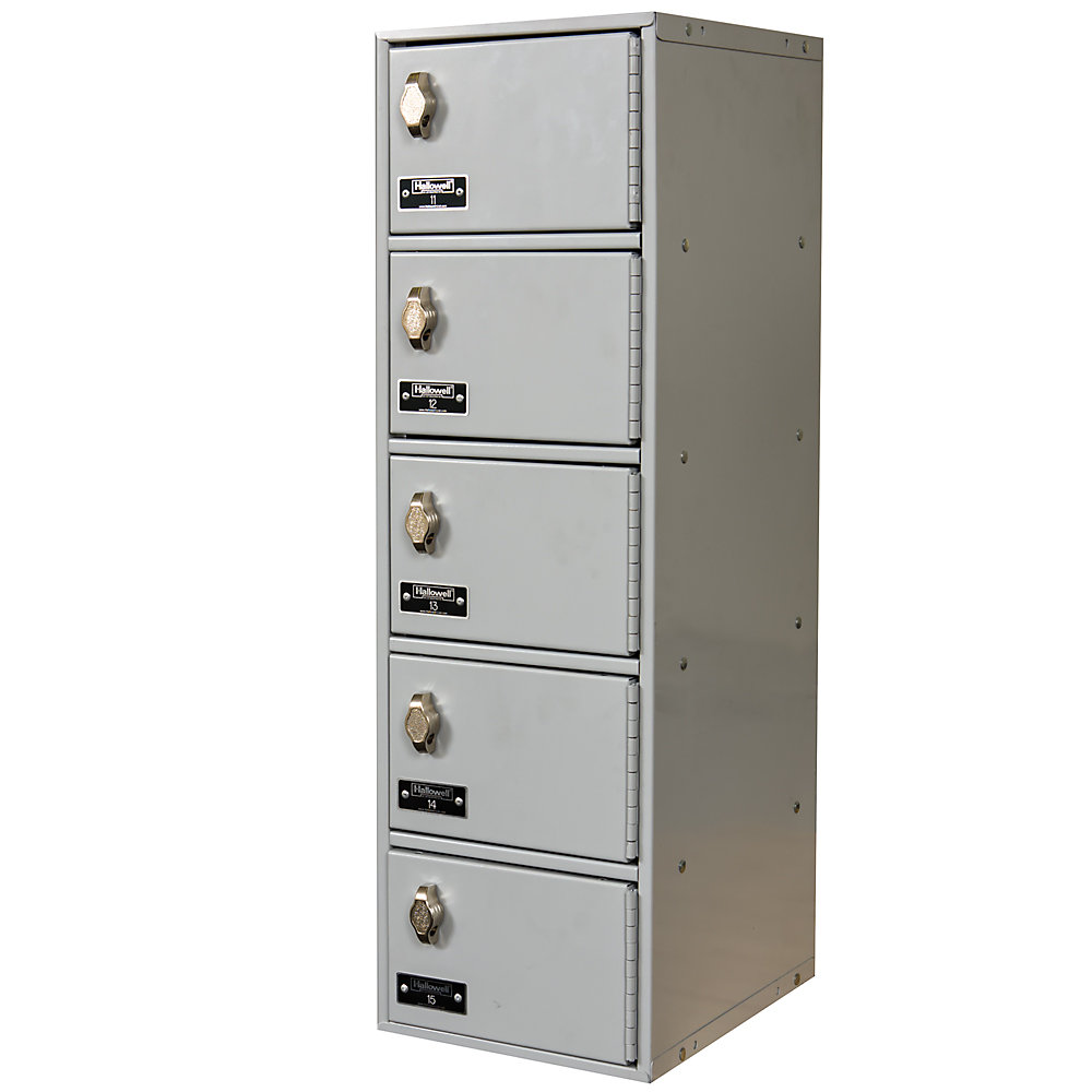 """Hallowell Cell Phone And Tablet Locker - 7-1/2 X11x5-1/2"""" Openings - 1 Locker Wide - Padlock Hasp - Light Gray"""
