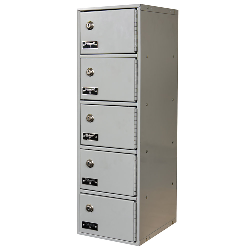 """Hallowell Cell Phone And Tablet Locker - 7-1/2 X11x5-1/2"""" Openings - 1 Locker Wide - Keyed Lock - Light Gray  (UCTL192(30)-5A-K-PL)"""