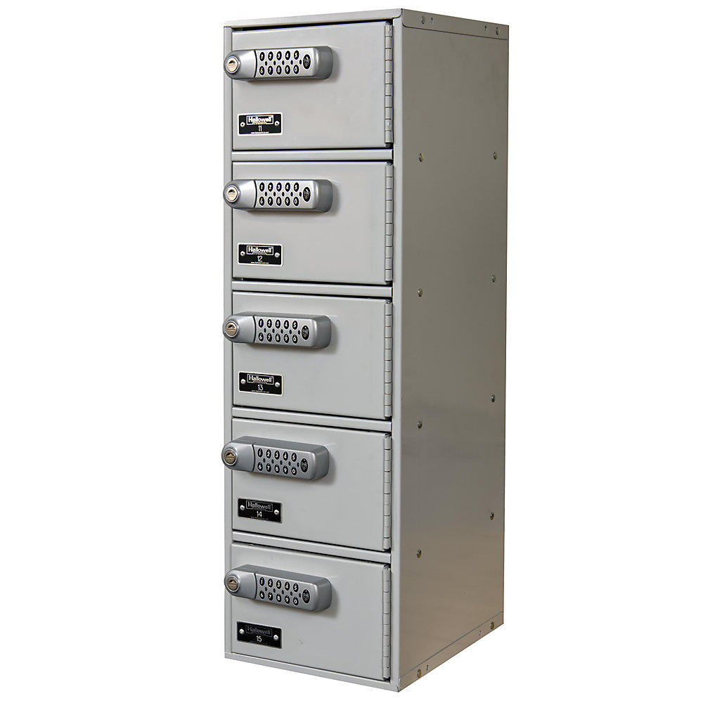 """Hallowell Cell Phone And Tablet Locker - 7-1/2 X11x5-1/2"""" Openings - 1 Locker Wide - Electronic Lock - Light Gray  (UCTL192(30)-5A-E-PL)"""