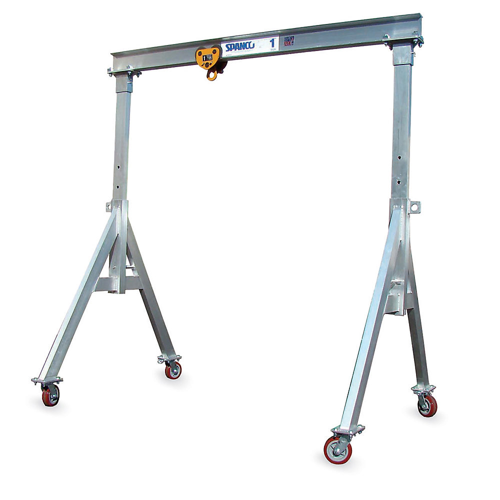 """Spanco Aluminum Gantry Cranes - 4000-Lb. Capacity - 5'8"""" To 8'2"""" Clearance Height - 10' Overall Span"""