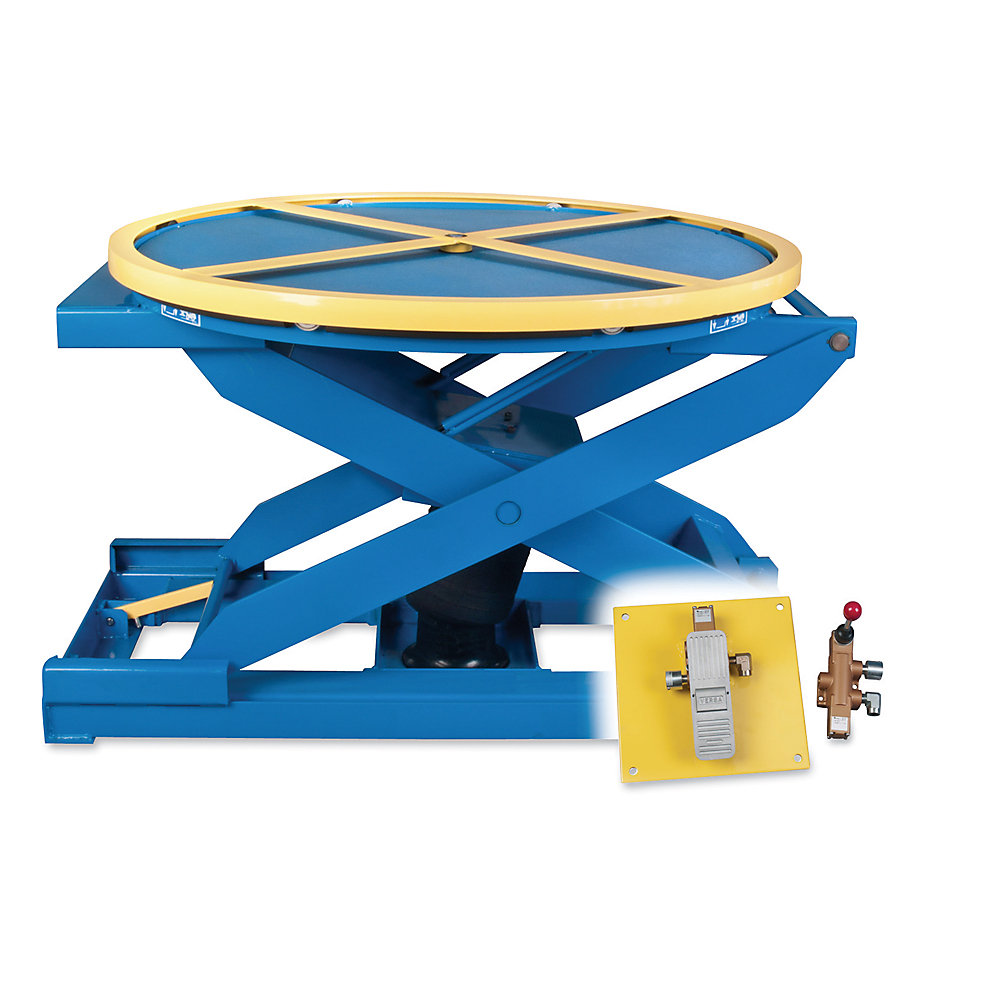 "Bishamon Ez-Up Pneumatic Lift Table - 43"" Dia. Platform - Foot Control - Blue"