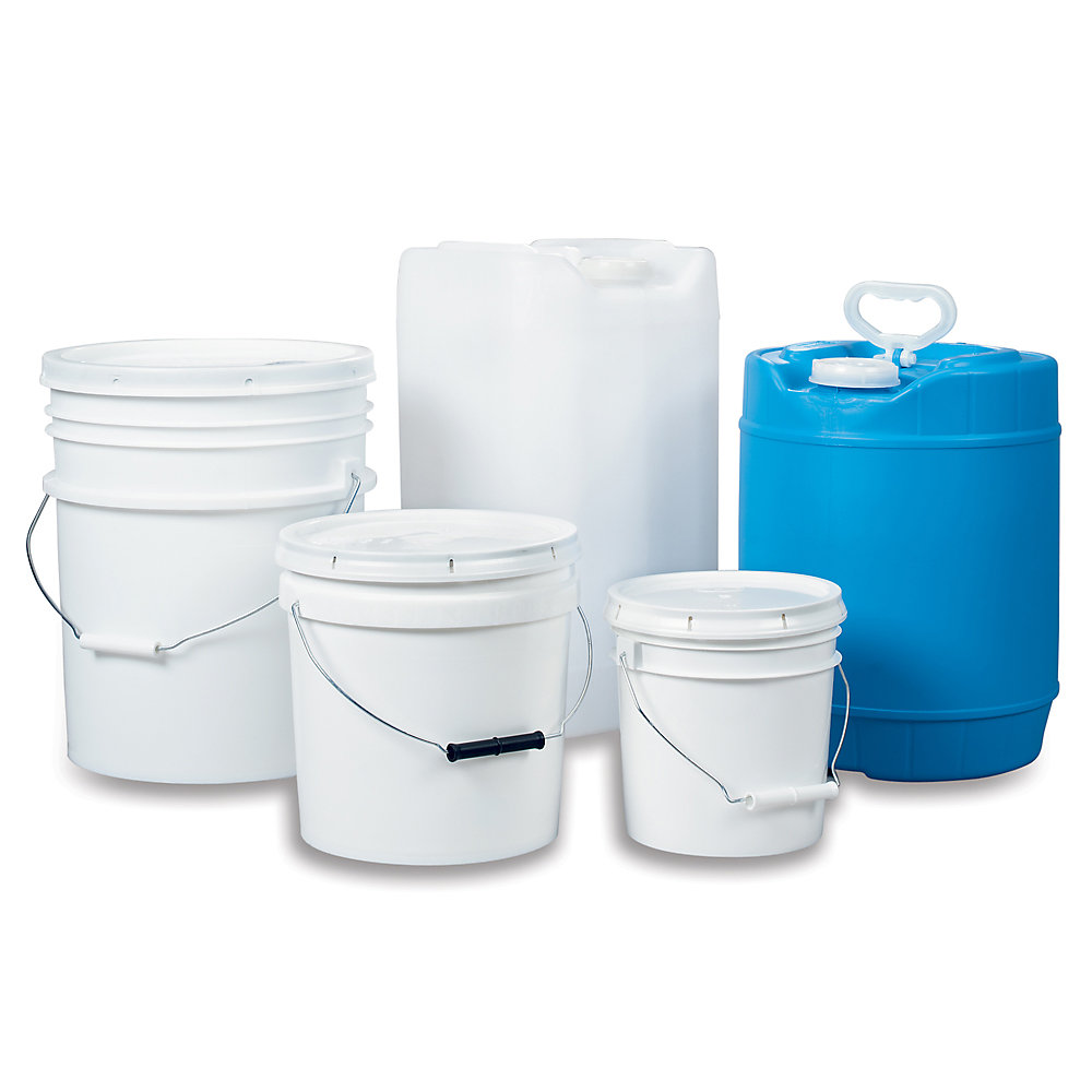 Plastic Pail With Cover - Round Closed Head - 5-Gal. Capacity - White - White - 11