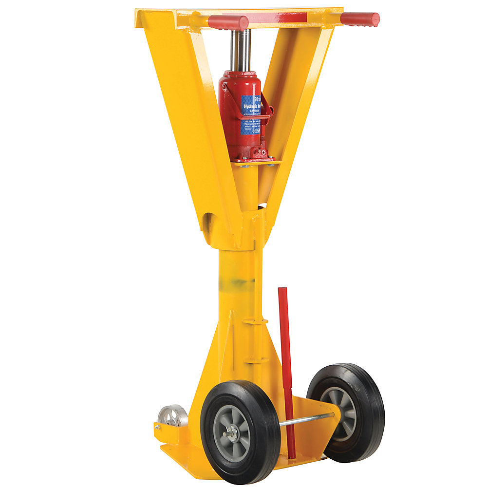 Vestil Beam-Top Trailer Jack - 40,000-Lb. Lifting Capacity - Hydraulic Lift - Yellow