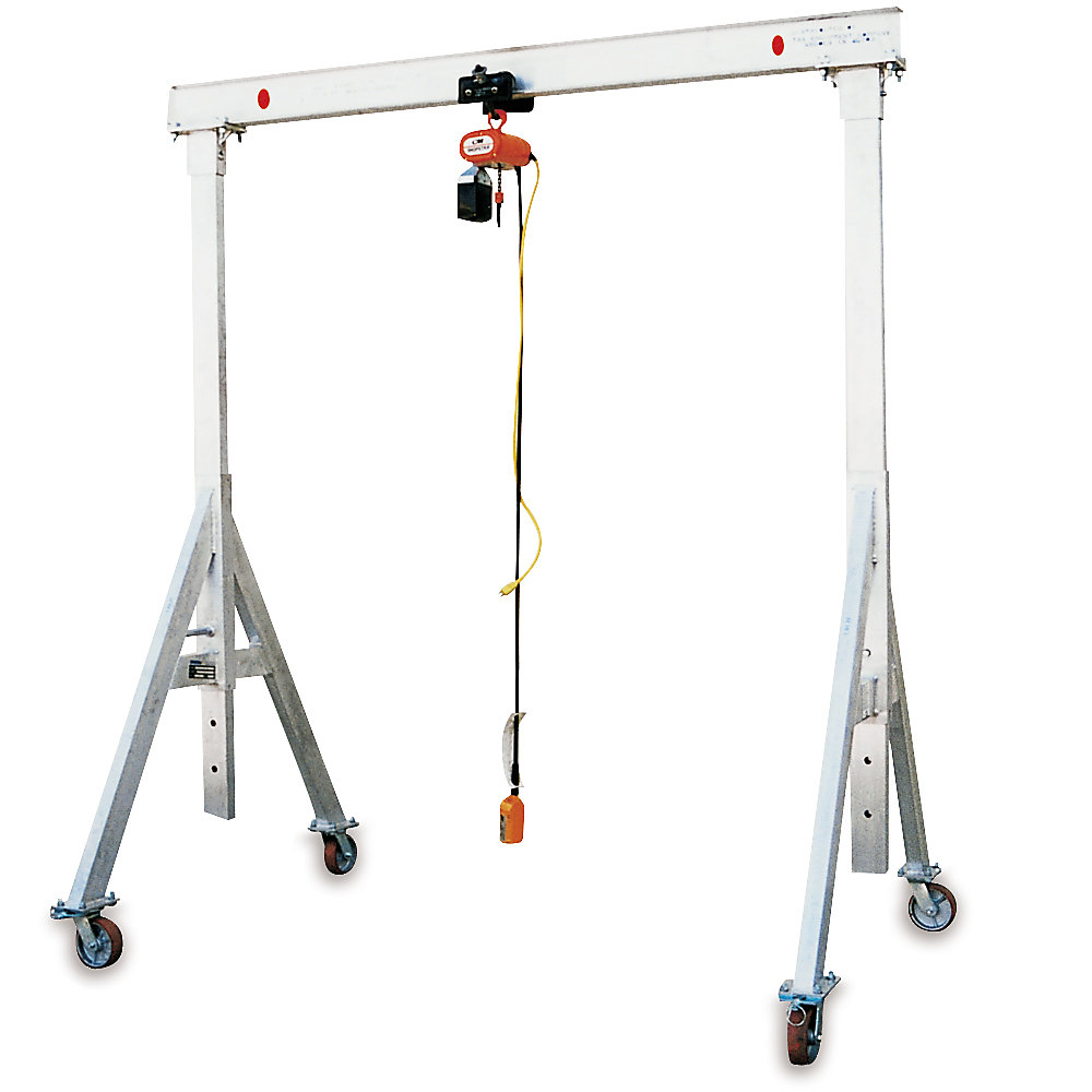 """Relius Solutions Aluminum Gantry Cranes - 2000-Lb. Capacity - 8' Overall Span - 7'8""""-10'2"""" Clearance Height"""