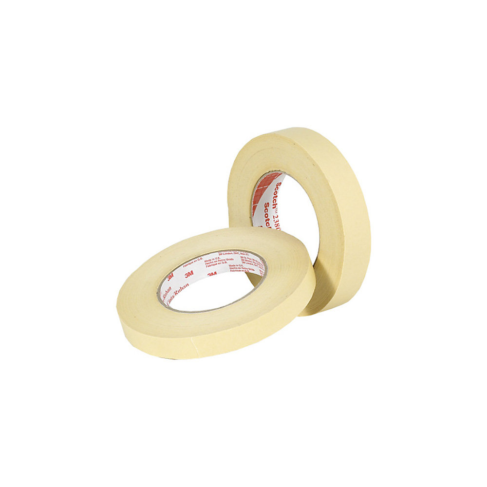 "3M Scotch 2380 High-Temperature Masking Tape - 0.5"" X 60 Yards - 7.5 Mil - Tan - Lot of 72"