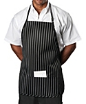 Chalk Stripe Bib Apron, 27 inch Rounded Corners