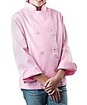 Girls Pink Classic Long Sleeve Chef Coat
