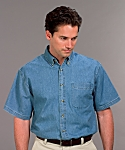 Mens Denim Shirt, Short Sleeve, Clearance