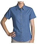 Womens Denim Shirt, Short Sleeve, Clearance