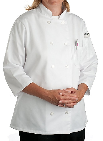 Womens White Classic 3 4 Sleeve Chef Coat