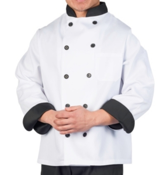 White Chef Coat with Black Contrast