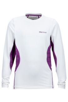 Girl's Lana LS Crew, White/Mystic Purple Alps, medium