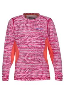 Girl's Lana LS Crew, Bright Ruby Arrows/Living Coral, medium